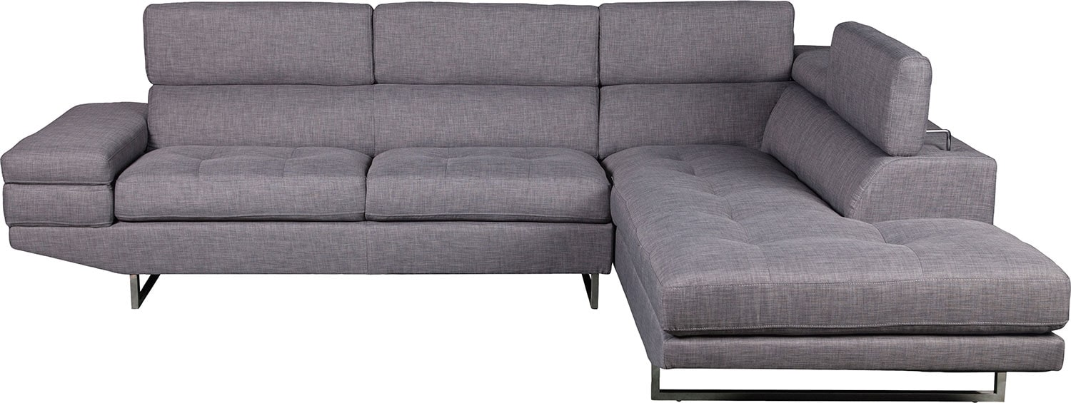 Zeke 2-Piece Linen-Look Fabric Right-Facing Sectional - Steel