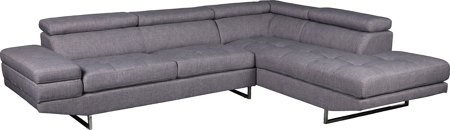 Living Room Furniture - Zeke 2-Piece Linen-Look Fabric Right-Facing Sectional - Steel