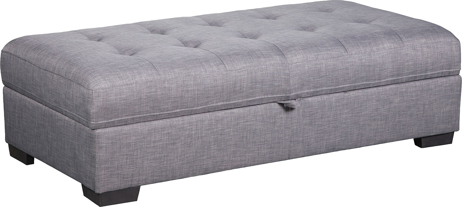 Living Room Furniture - Zeke Linen-Look Fabric Ottoman - Steel