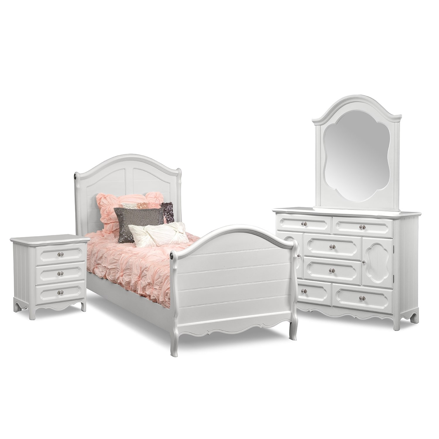 Carly 6 piece full bedroom set white american for American furniture bedroom furniture
