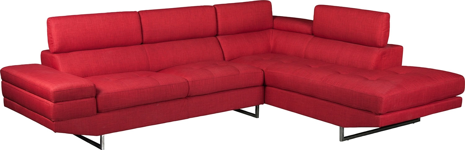 Living Room Furniture - Zeke 2-Piece Linen-Look Fabric Right -Facing Sectional - Cherry