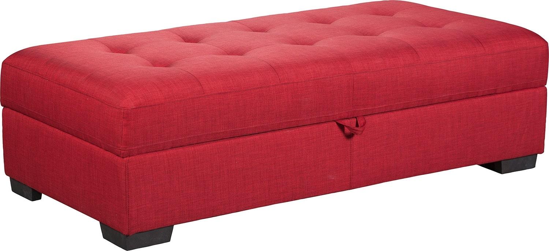 Zeke Linen-Look Fabric Ottoman - Cherry