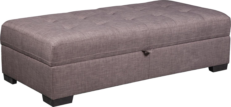 Zeke Linen-Look Fabric Ottoman – Platinum