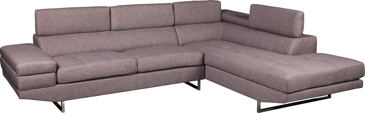 Living Room Furniture - Zeke 2-Piece Linen-Look Fabric Right -Facing Sectional - Platinum