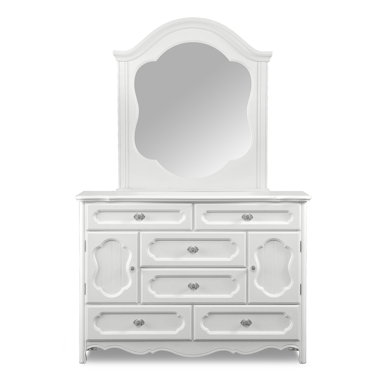 carly dresser and mirror white value city furniture. Black Bedroom Furniture Sets. Home Design Ideas