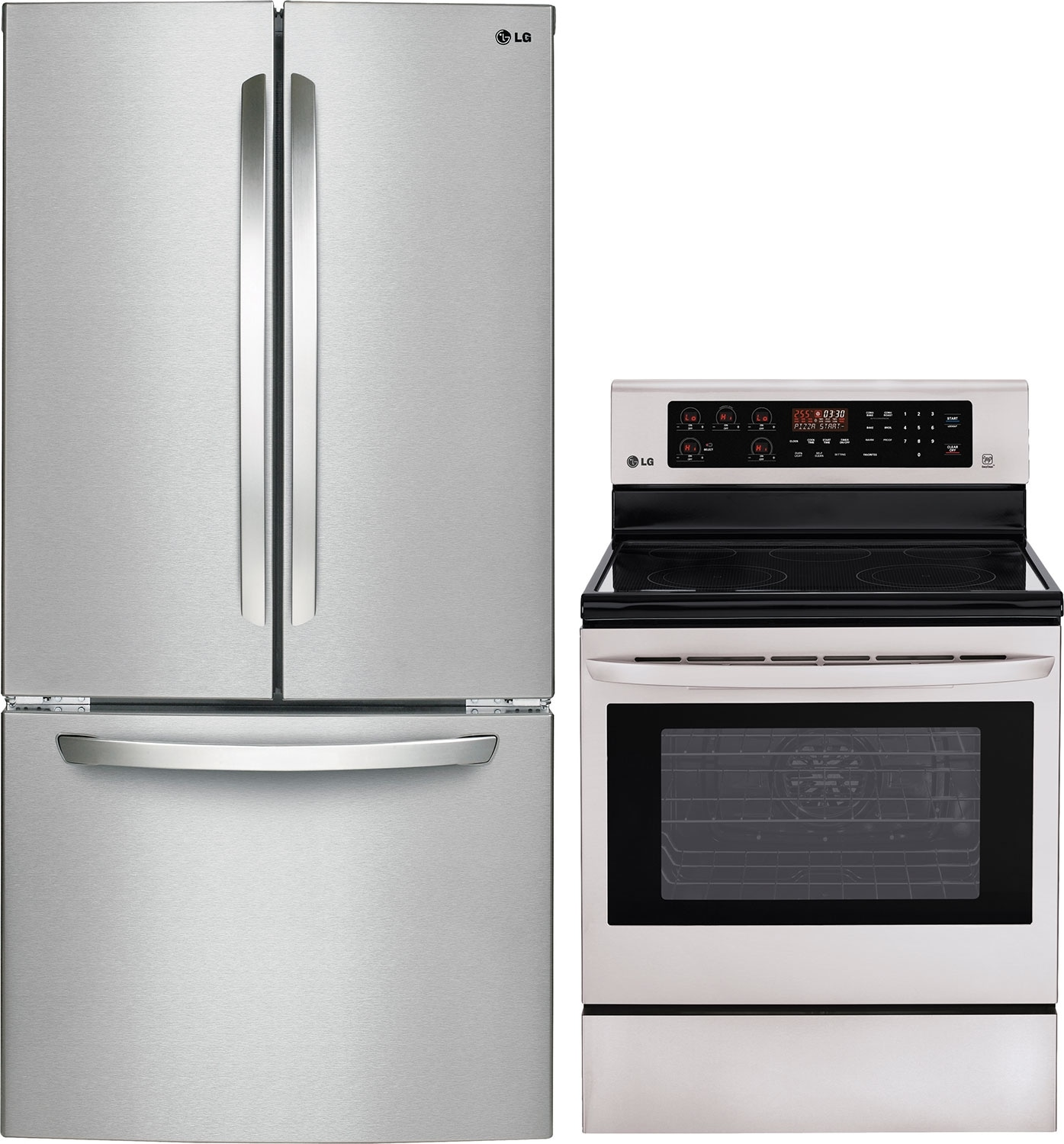 Refrigerators and Freezers - LG 24 Cu. Ft. French-Door Refrigerator and 6.3 Cu. Ft. Electric Range – Stainless Steel