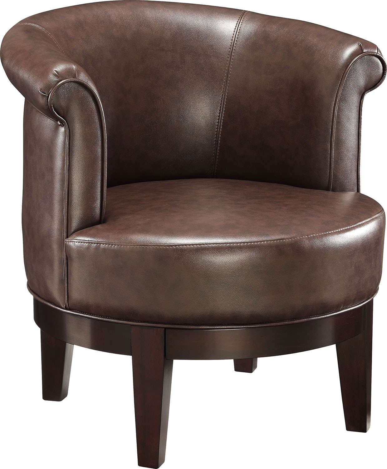 Living Room Furniture - Lino Bonded Leather Swivel Accent Chair – Brown