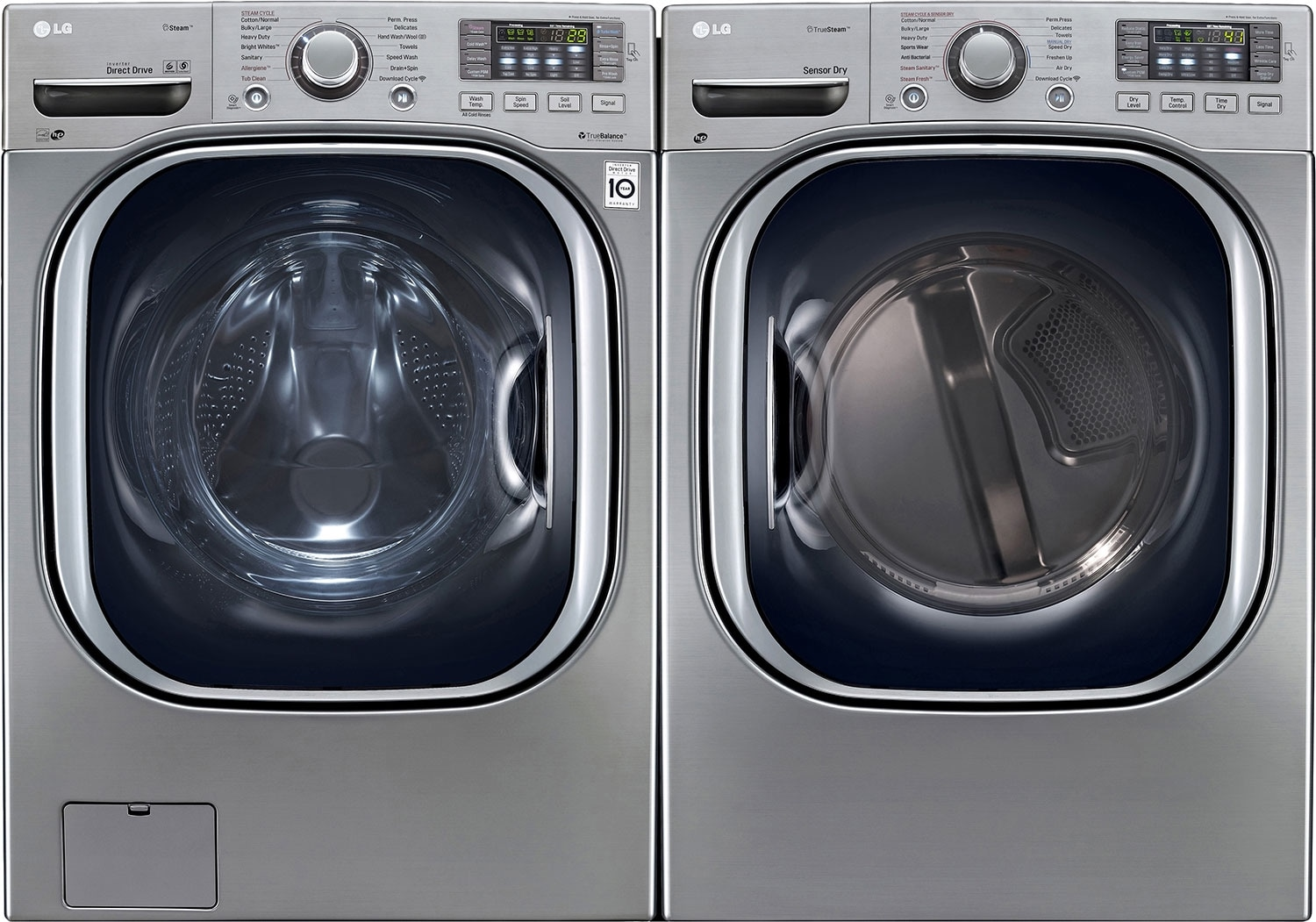 LG 5.2 Cu. Ft. Front-Load Washer and 7.4 Cu. Ft. Electric Dryer – Graphite Steel