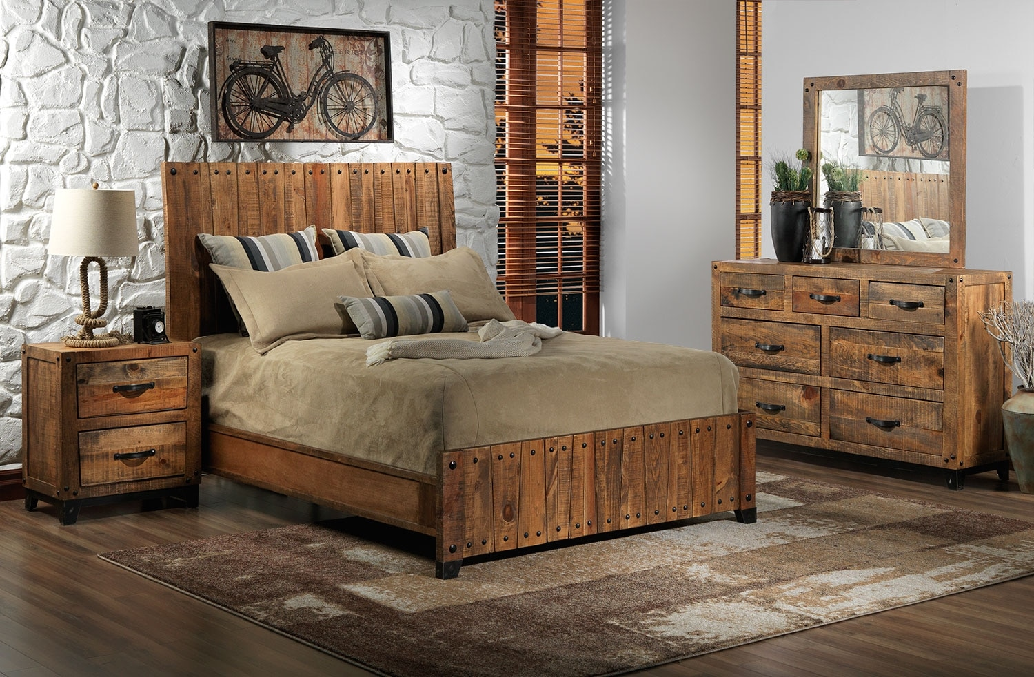 Bedroom Furniture - Maya 5-Piece King Bedroom Set - Rustic Pine