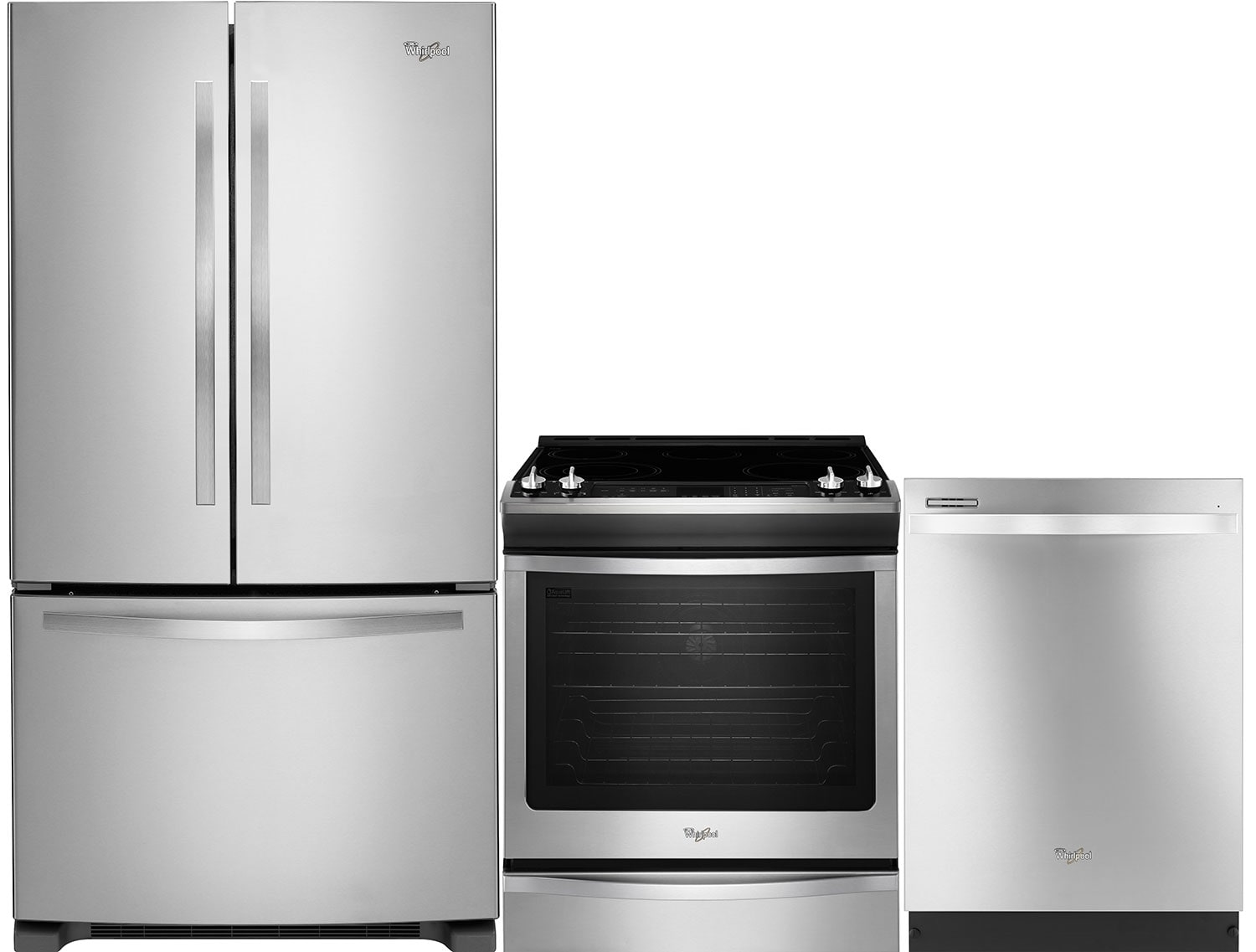 Refrigerators and Freezers - Whirlpool® 22 Cu. Ft. Fridge, 6.2 Cu. Ft. Range and Dishwasher Package – Stainless Steel