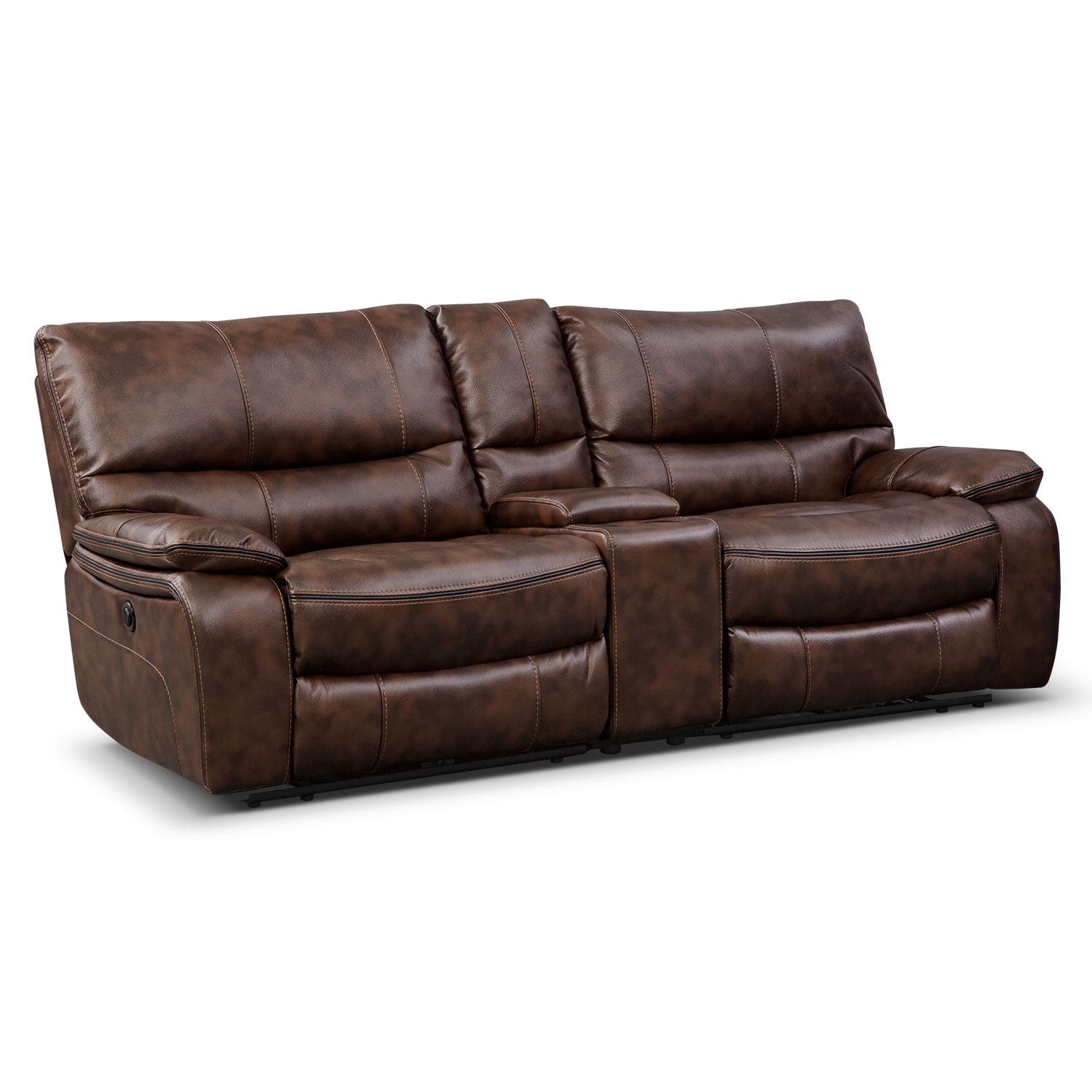 Orlando power reclining sofa with console brown value for Sofa console