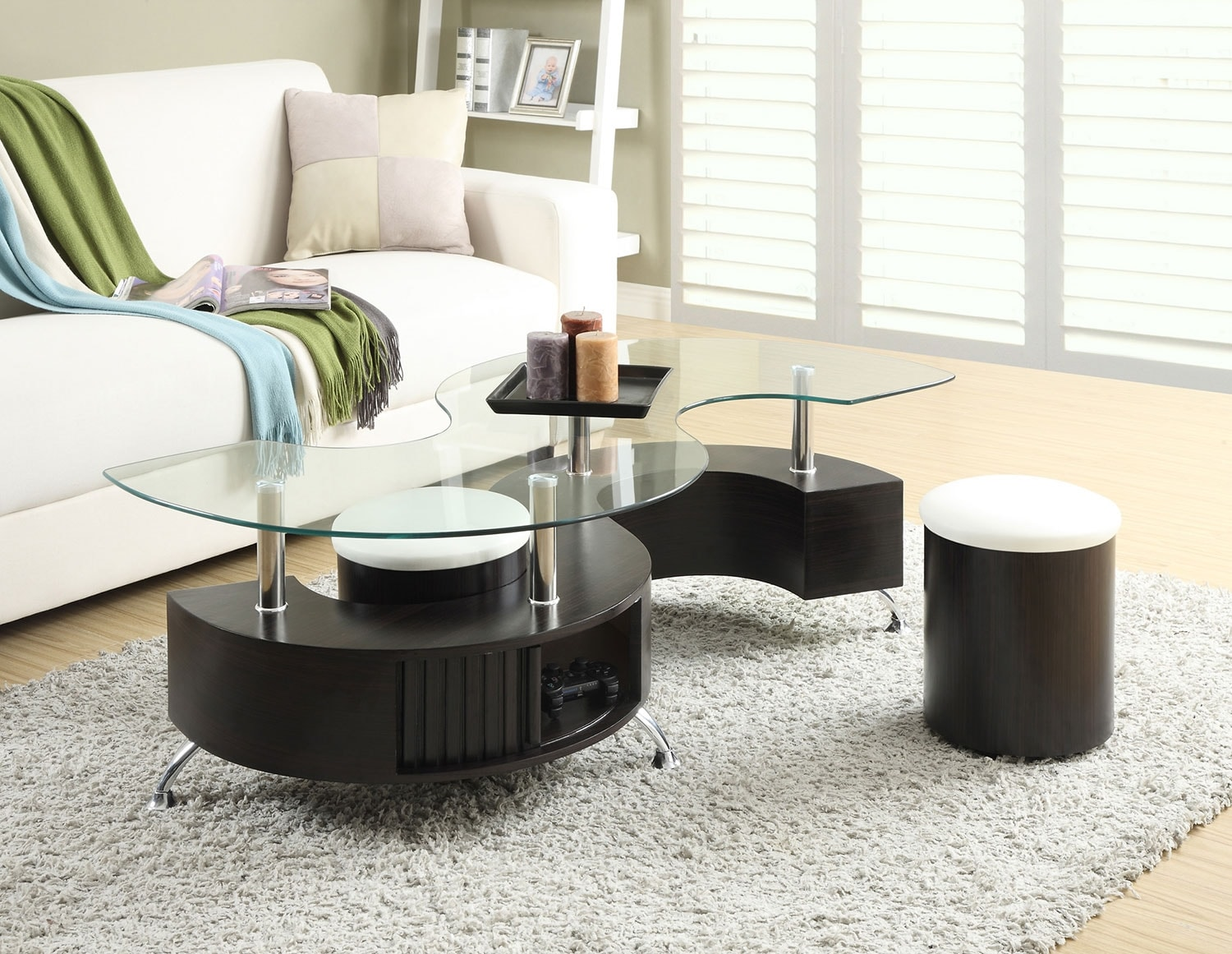 seradala coffee table with two ottomans the brick. Black Bedroom Furniture Sets. Home Design Ideas