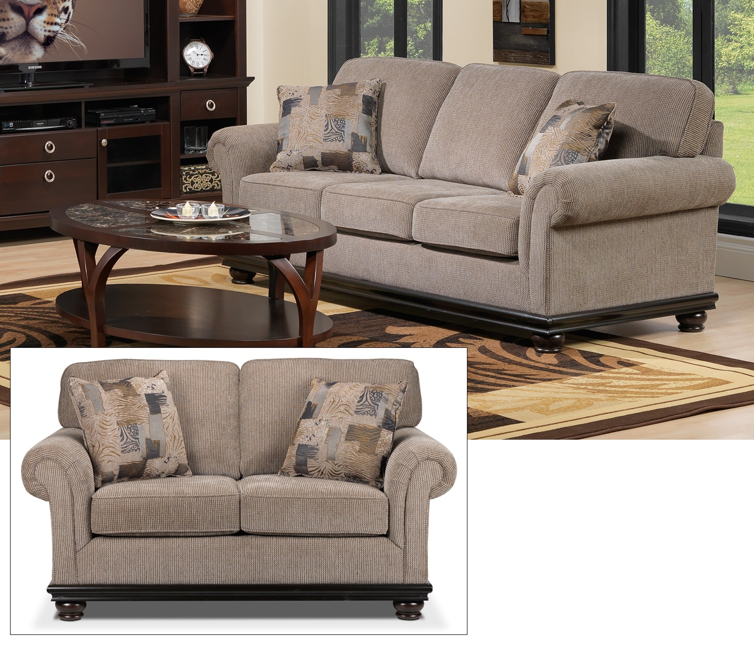 Tarano Sofa and Loveseat Set - Light Brown