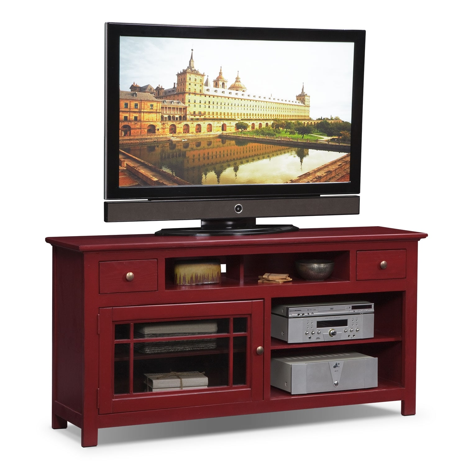 "American Pride Furniture Tv Stand: Merrick 64"" TV Stand - Red"