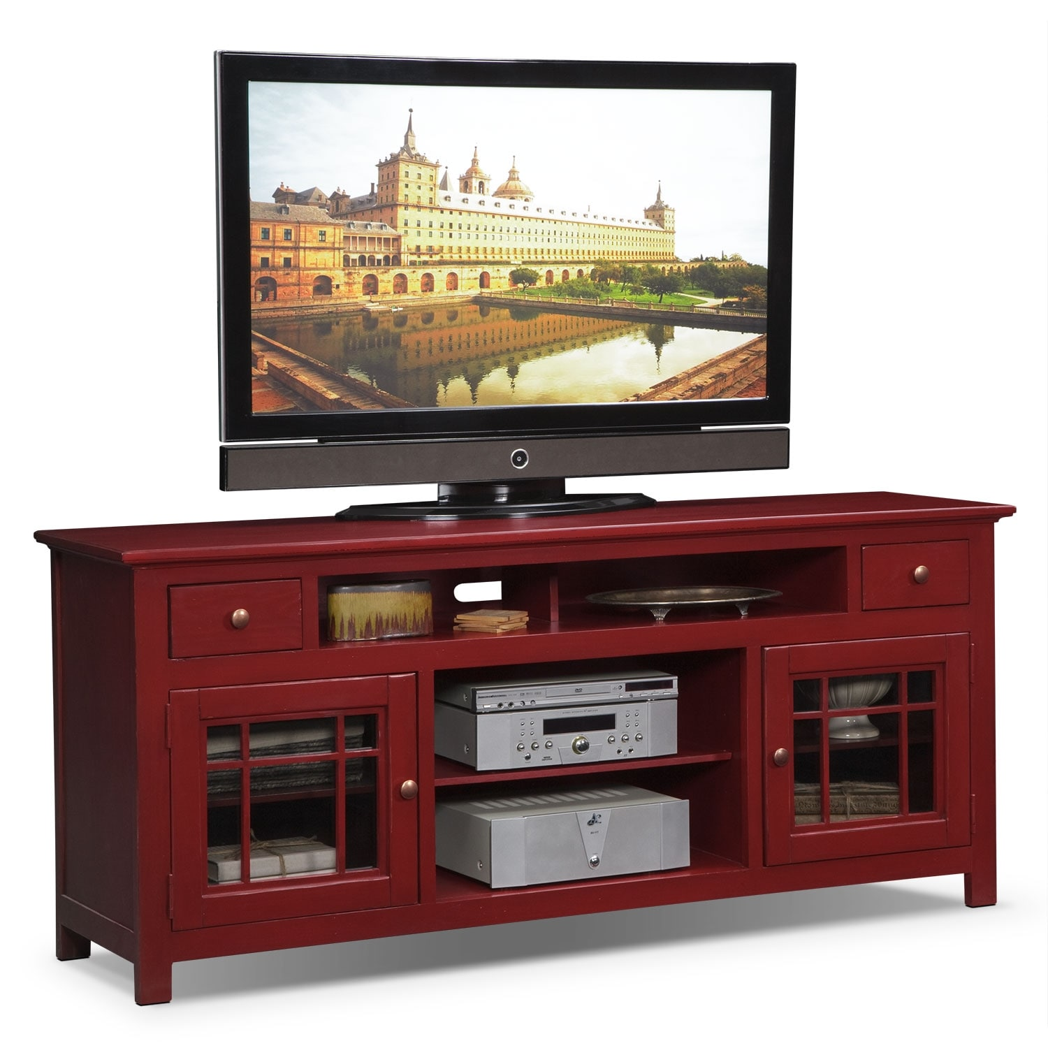 Merrick 74 tv stand red value city furniture for Tv furniture