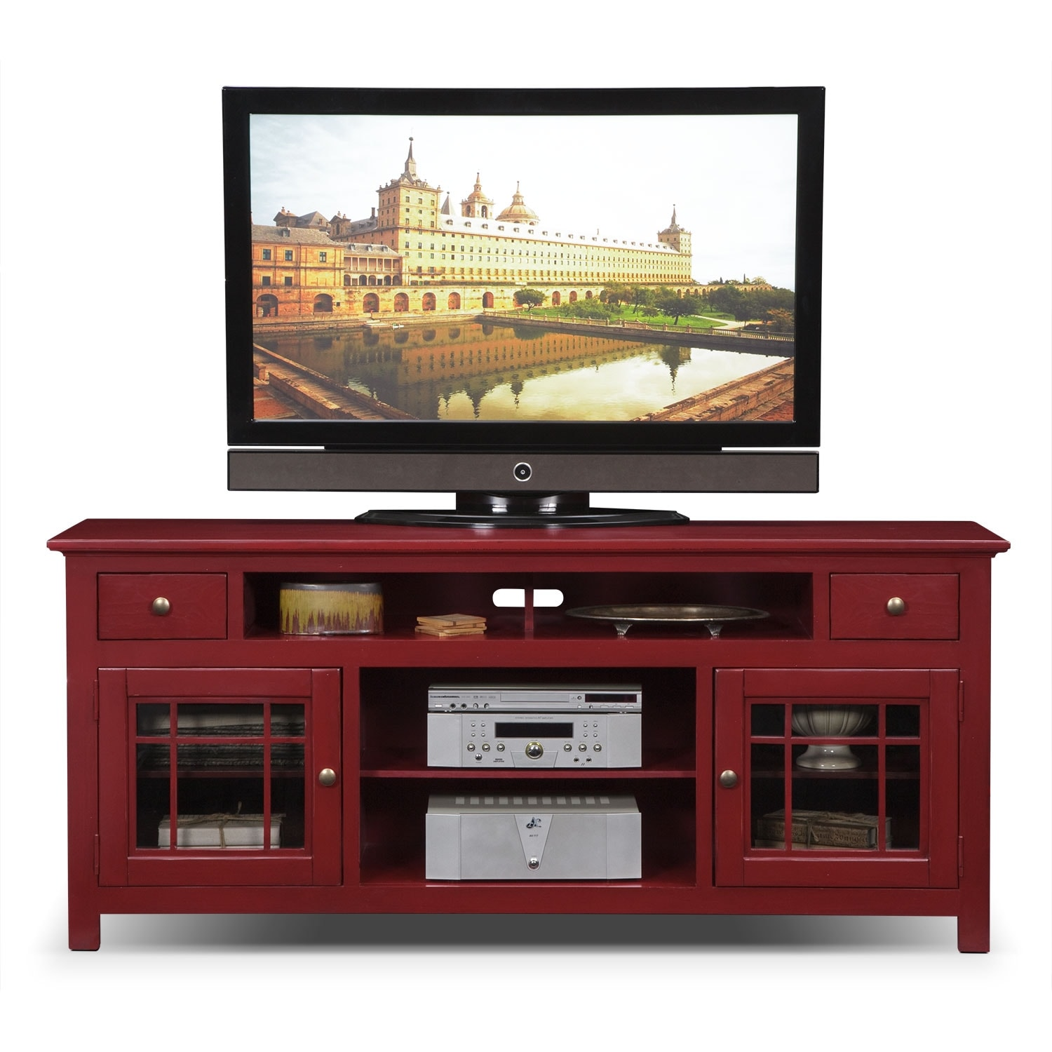 Merrick red 74 tv stand value city furniture for Living room stands