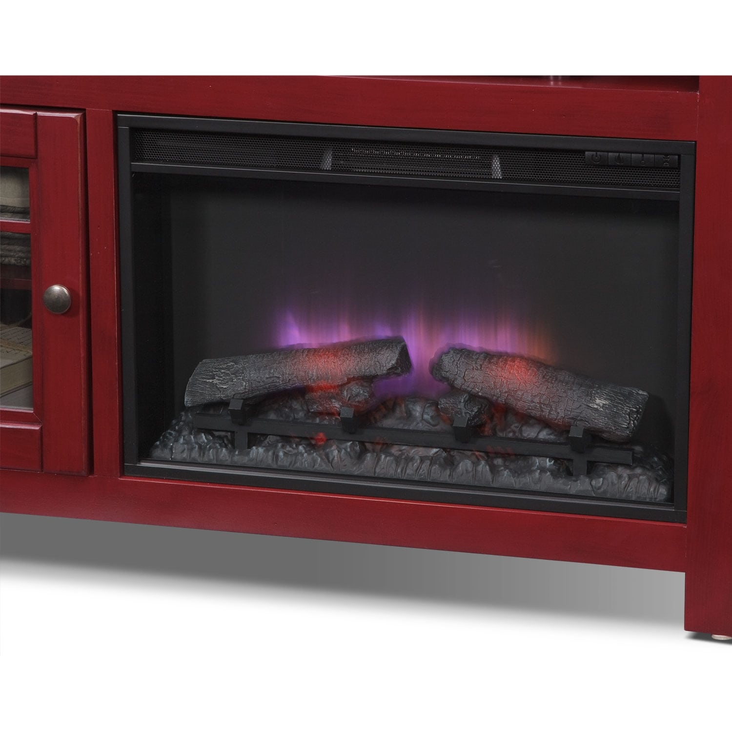 """Merrick Red Entertainment Wall Units 54"""" Fireplace TV"""