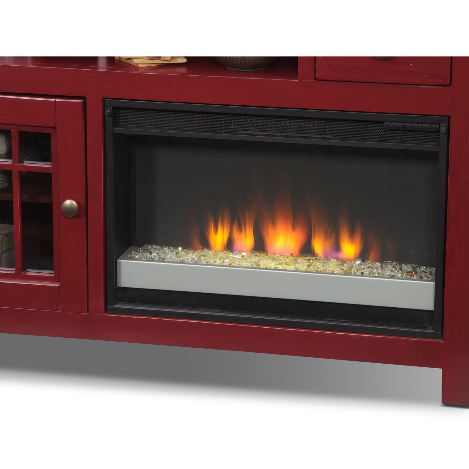 """Merrick Red Entertainment Furniture 64"""" Fireplace TV Stand"""