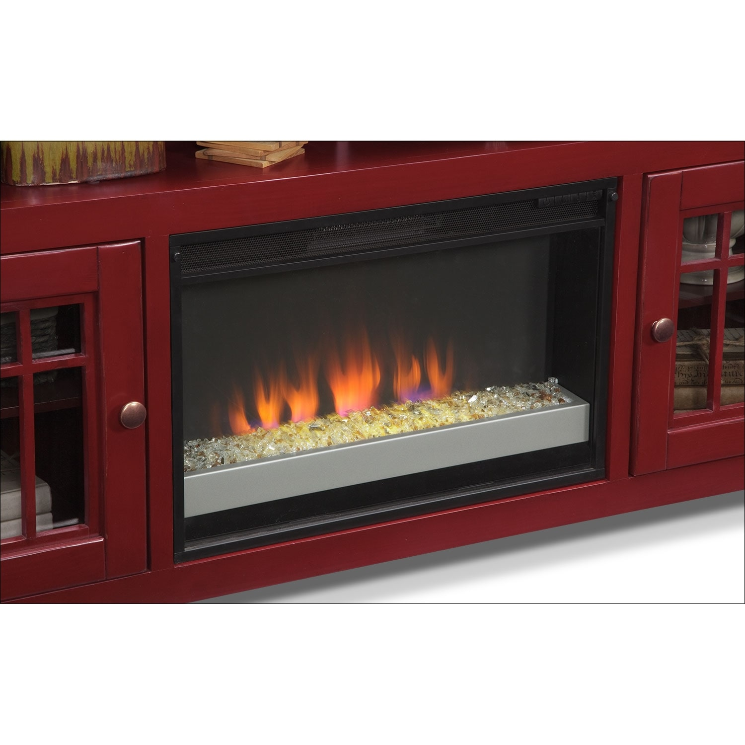 Merrick Red 74 Quot Fireplace Tv Stand With Contemporary