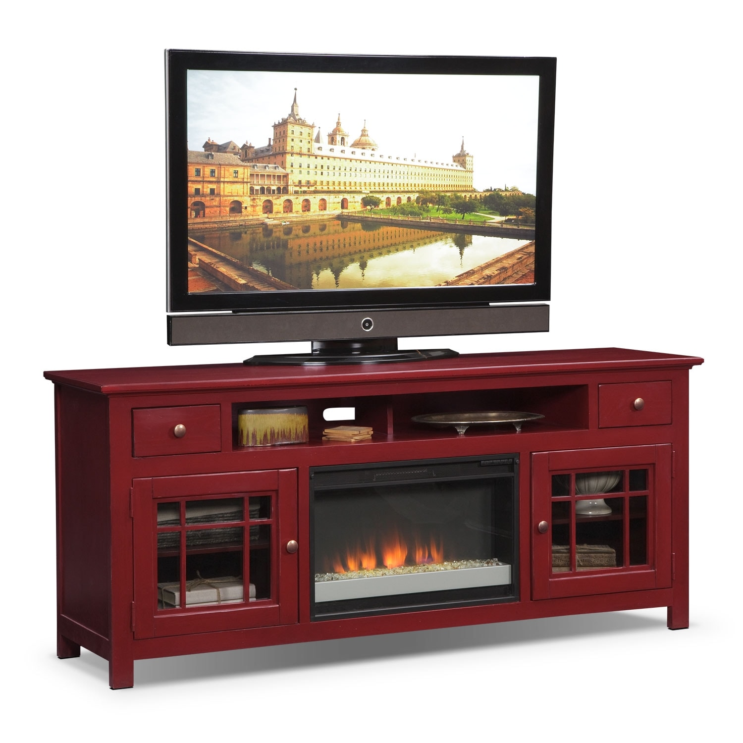 Merrick red 74 fireplace tv stand with contemporary for Tv furniture