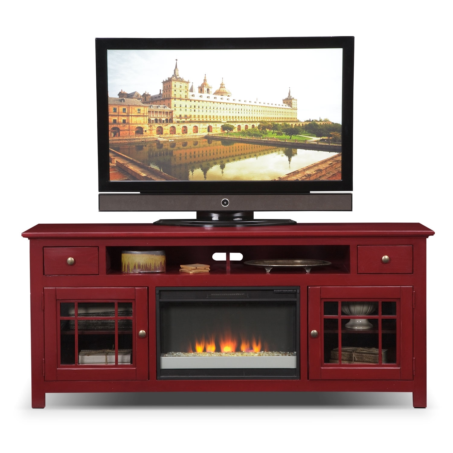 Merrick 74 fireplace tv stand with contemporary insert red american signature furniture - Contemporary fireplace insert for a warm living room ...