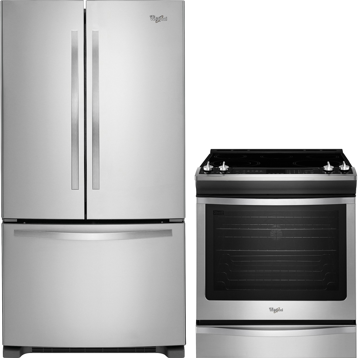 Whirlpool® 22 Cu. Ft. Fridge and 6.2 Cu. Ft. Electric Range Package – Stainless Steel