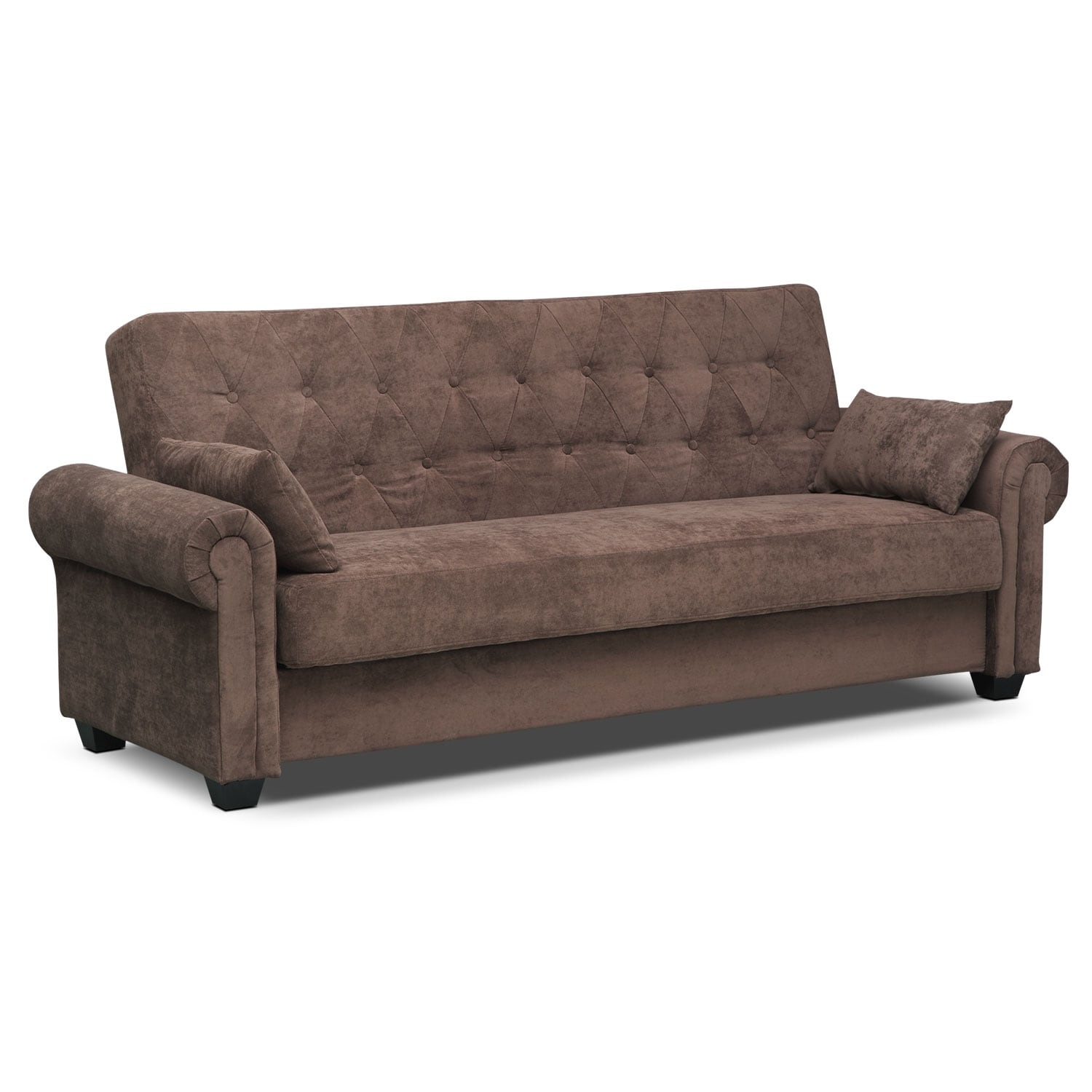 Andrea Upholstery Futon Sofa Bed With Storage Value City Furniture