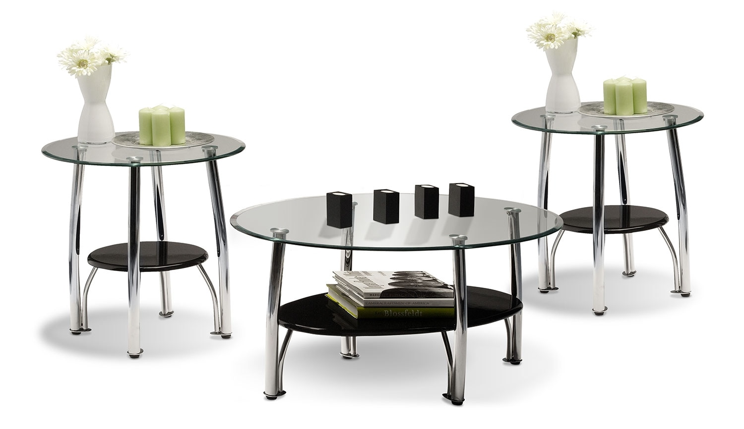 Ventura 3-Piece Table Set - Chrome