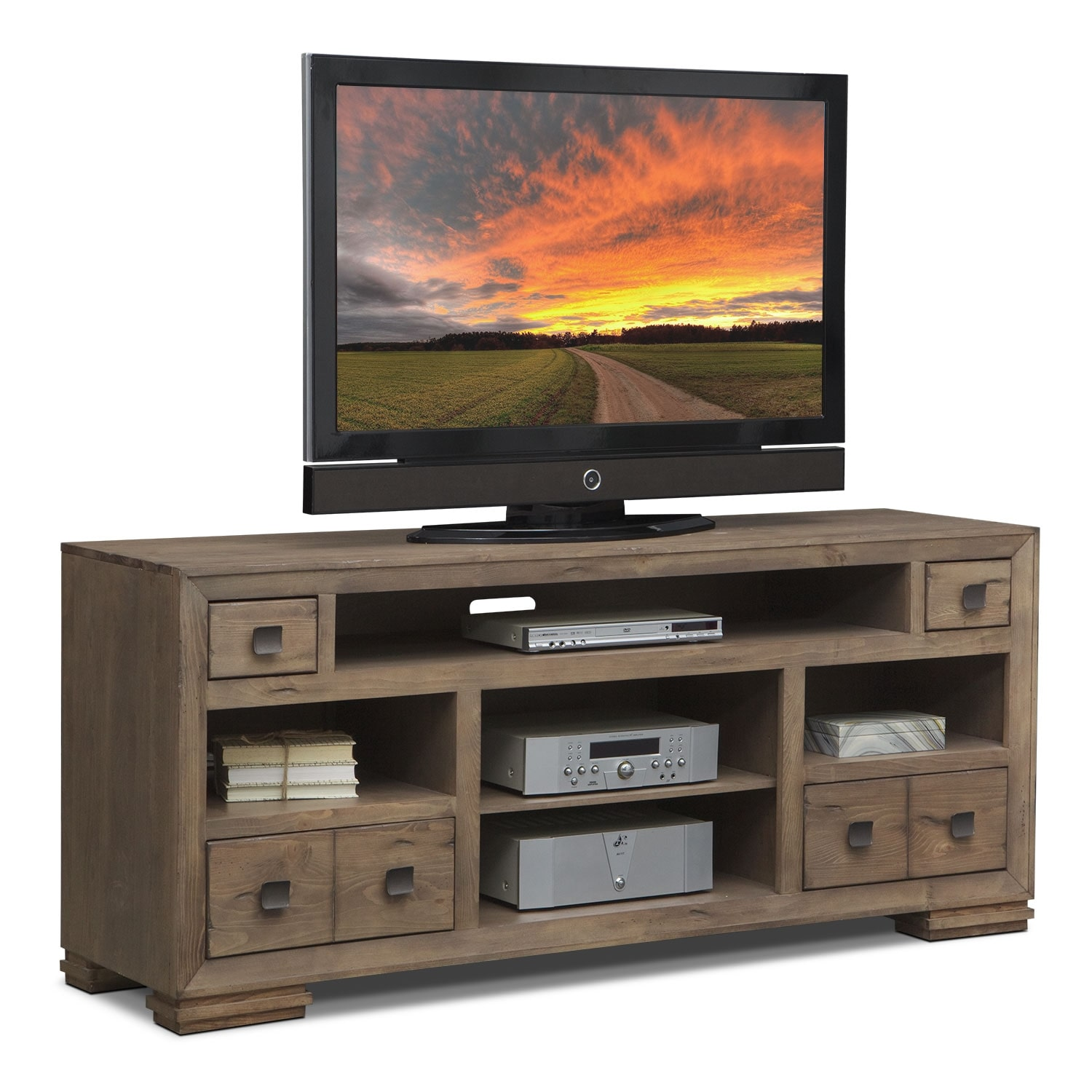mesa 74 tv stand distressed pine value city furniture. Black Bedroom Furniture Sets. Home Design Ideas