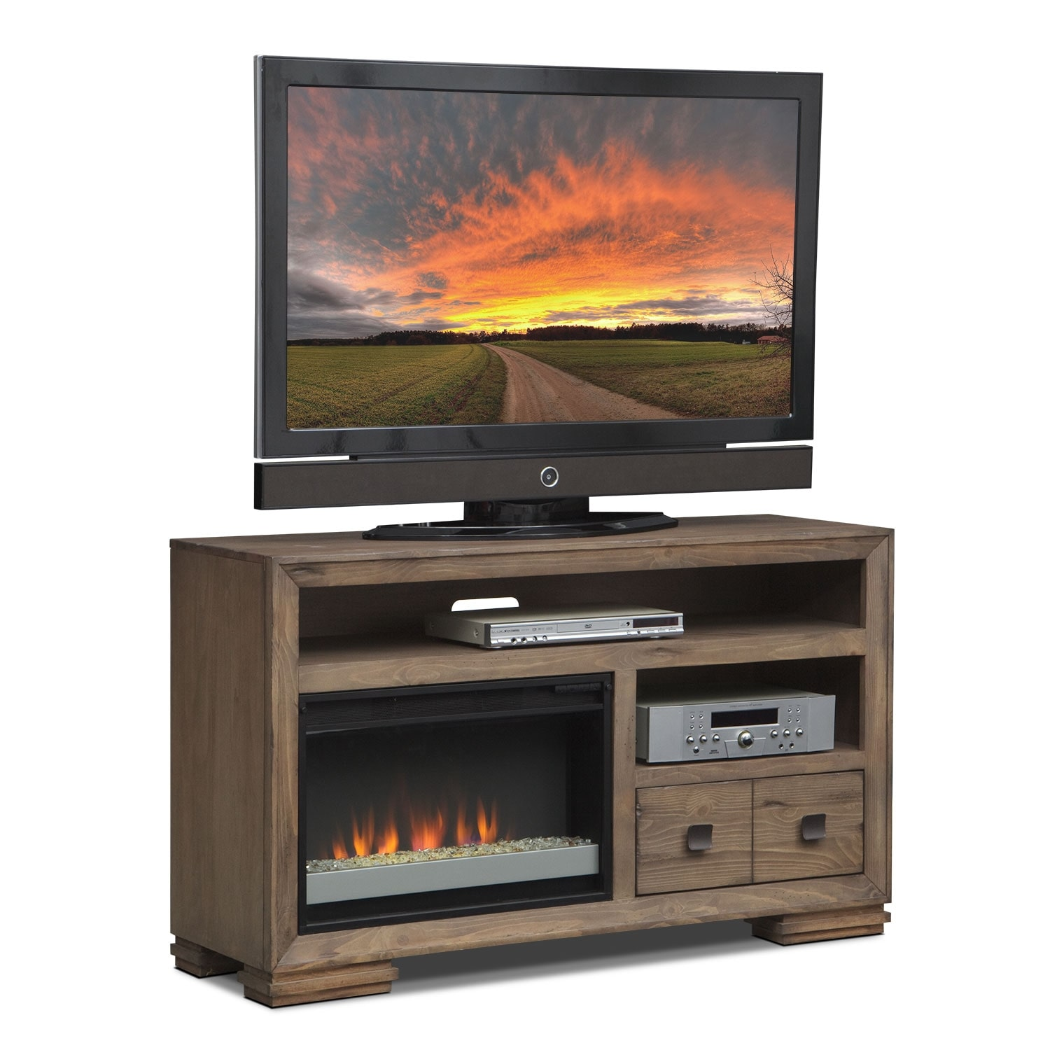 Mesa 54 Fireplace Tv Stand With Contemporary Insert Distressed Pine Value City Furniture
