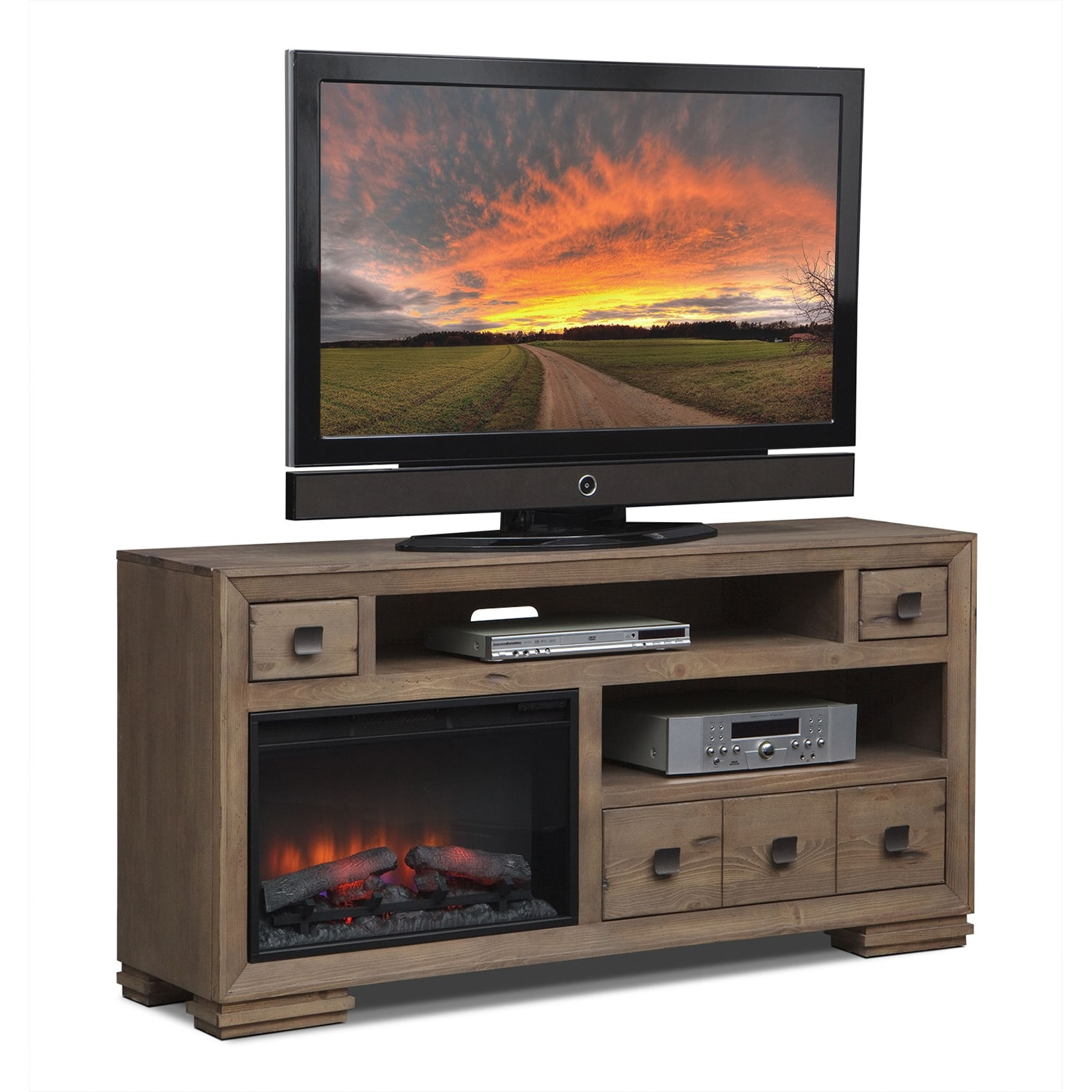 Mesa 64 Fireplace Tv Stand With Traditional Insert Distressed Pine Value City Furniture