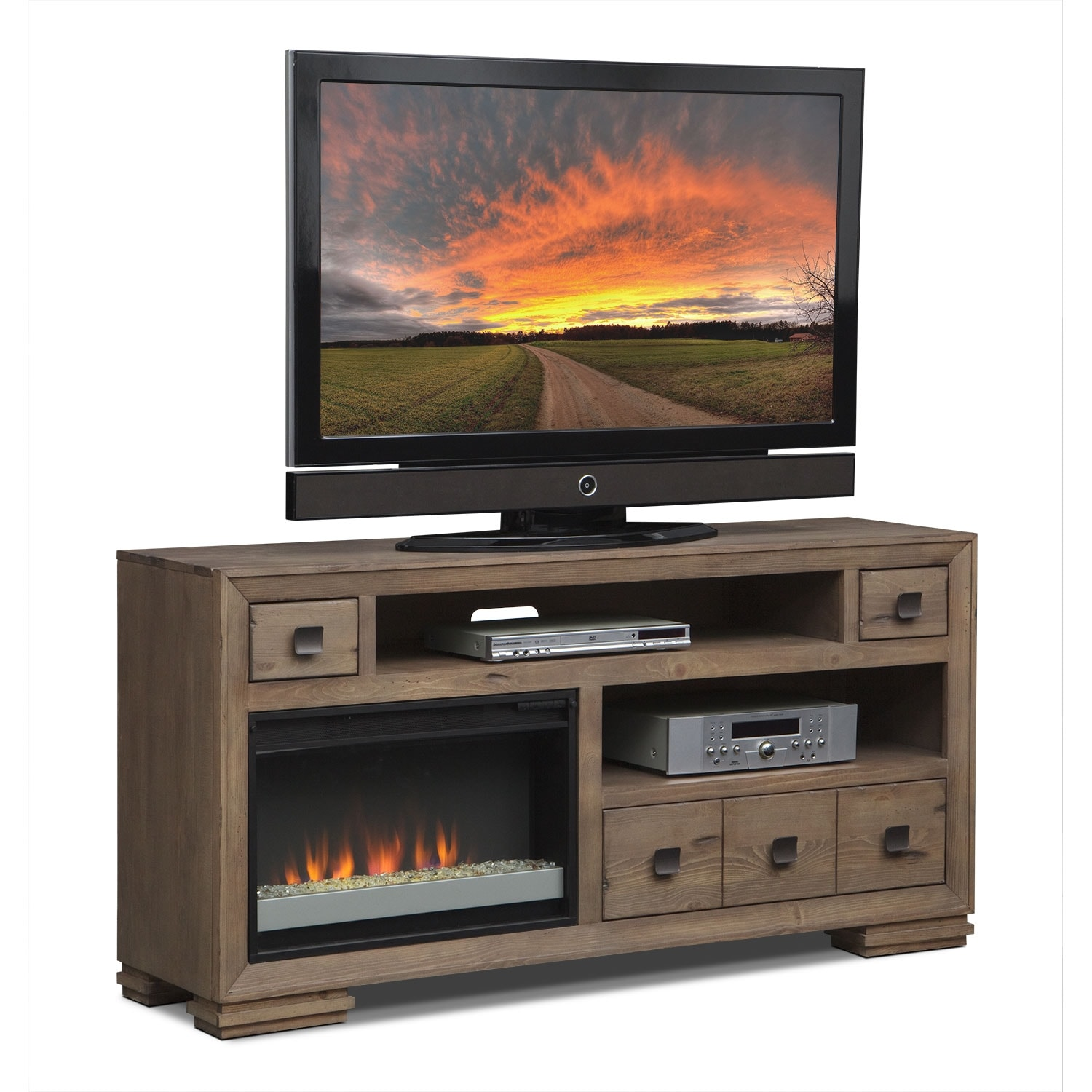 Mesa 64 Fireplace Tv Stand With Contemporary Insert Distressed Pine American Signature