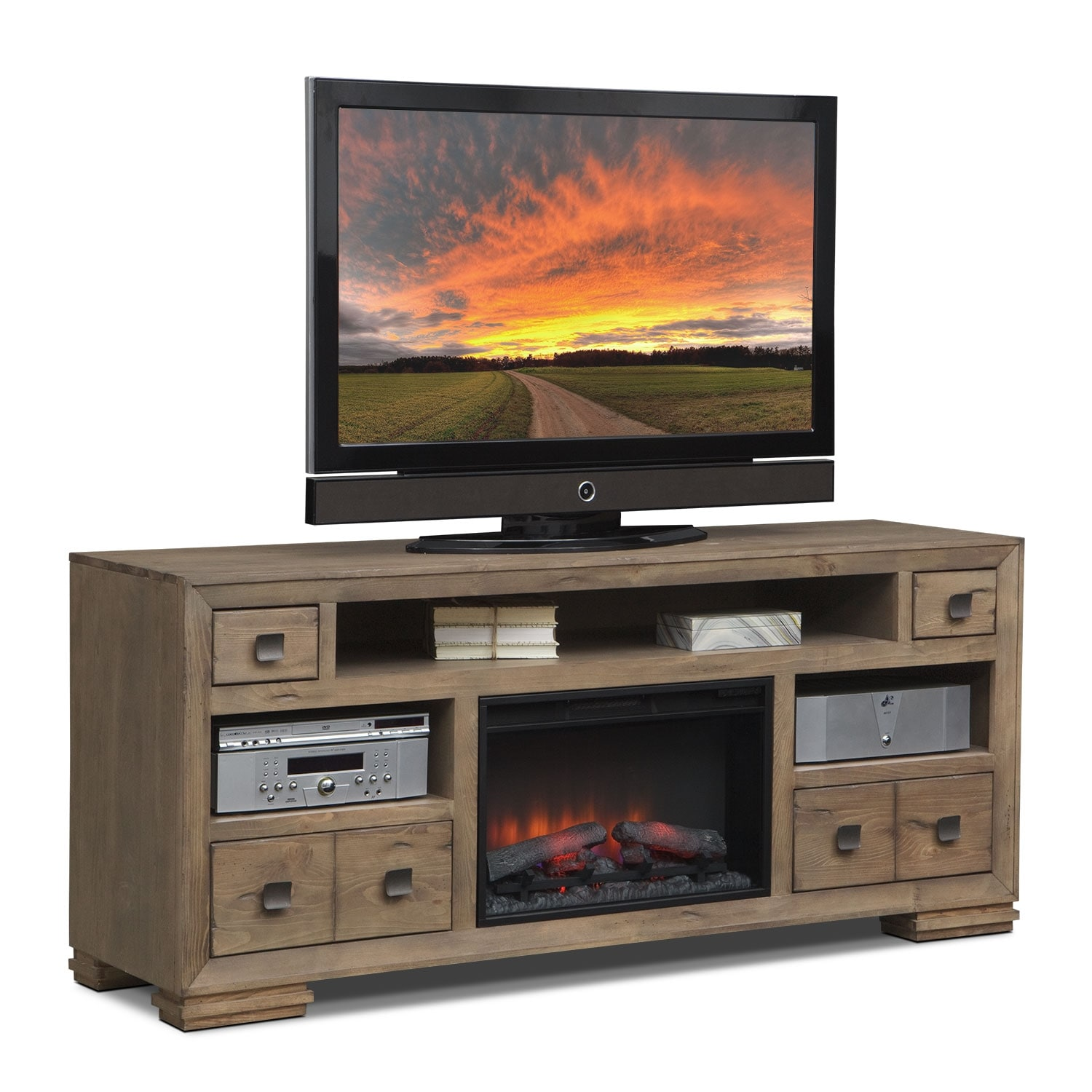 Mesa 74 Fireplace Tv Stand With Traditional Insert Distressed Pine American Signature Furniture
