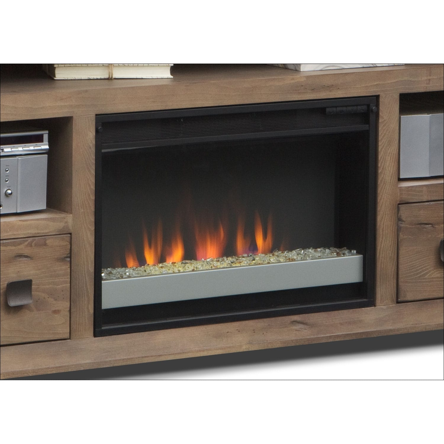 mesa 74 fireplace tv stand with contemporary insert