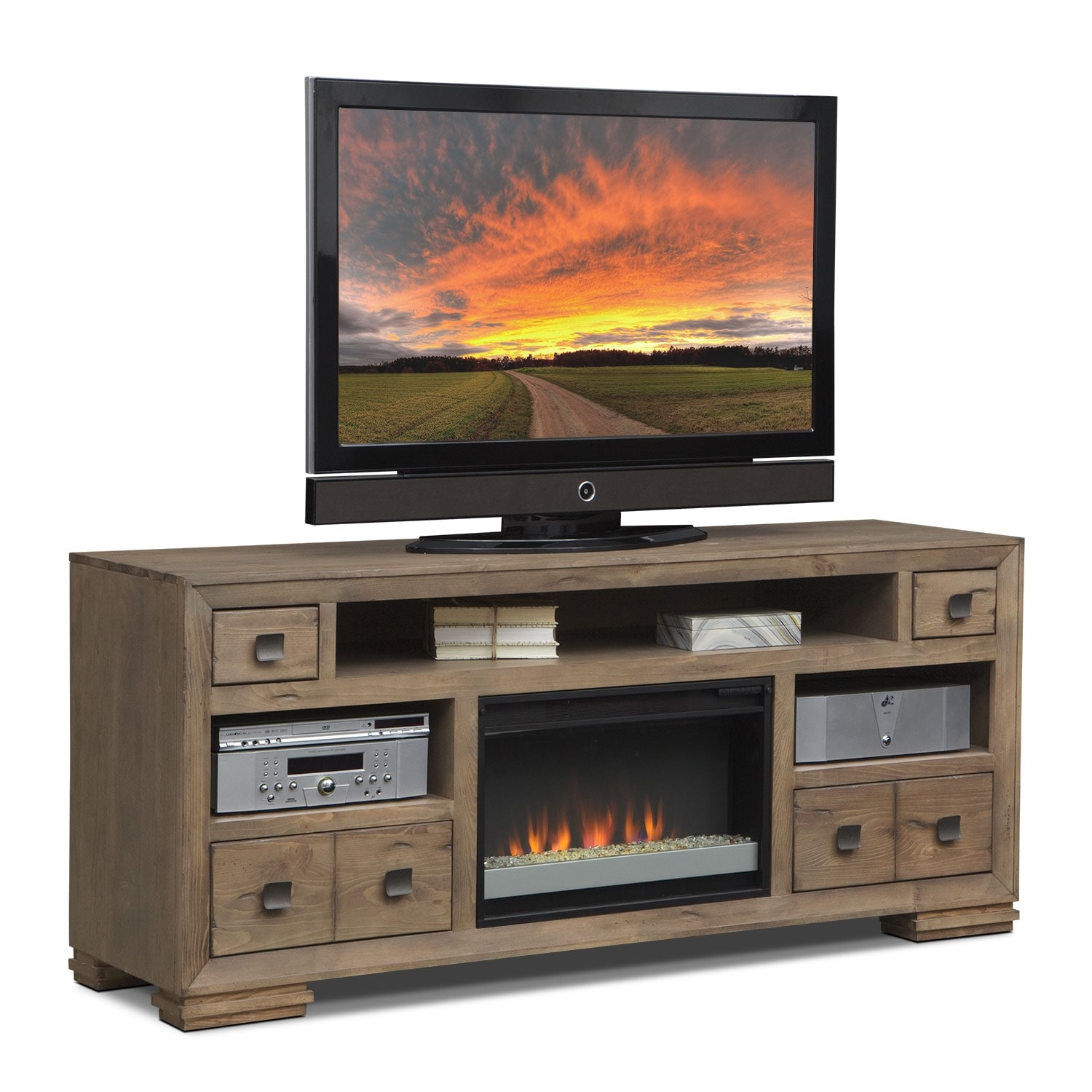 Mesa 74 Quot Fireplace Tv Stand With Contemporary Insert