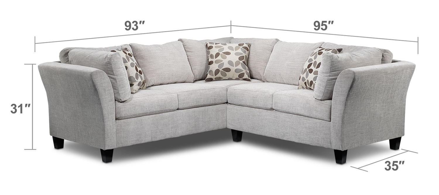 Living Room Furniture - Bristol 2-Piece Sectional - Grey