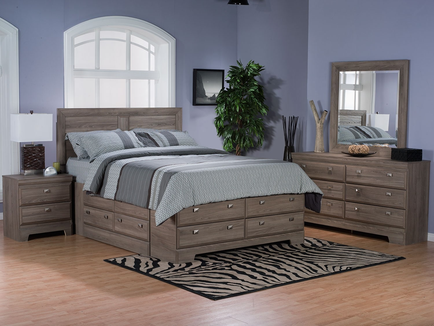 Bedroom Furniture - Yorkdale Light 6-Piece Full Storage Bedroom Package