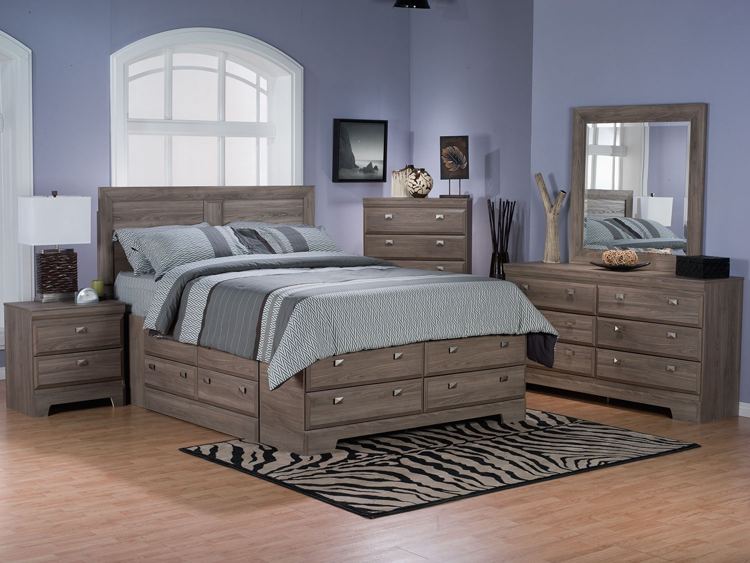 Yorkdale light 8 piece queen storage bedroom package the brick for Cheap bedroom furniture packages