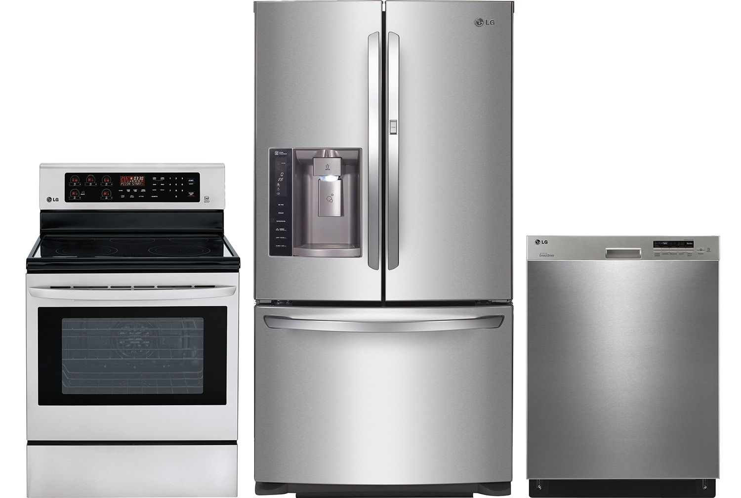 "Refrigerators and Freezers - LG 26.6 Cu. Ft. Refrigerator, 6.3 Cu. Ft. Range and 24"" Dishwasher Package"