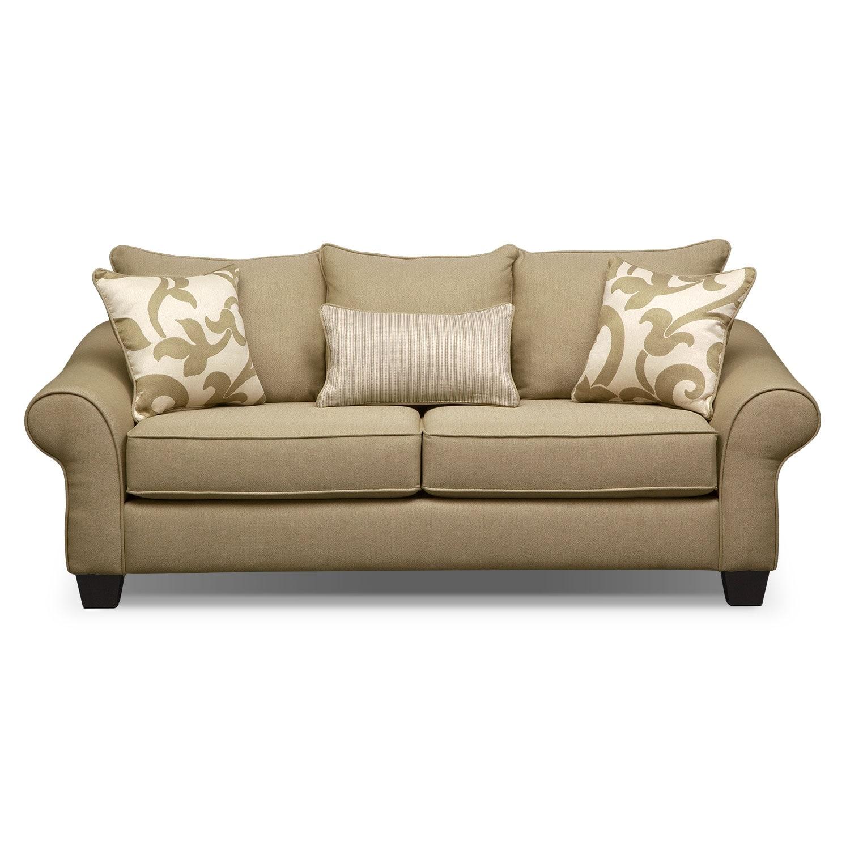 Colette Full Memory Foam Sleeper Sofa Khaki Value City