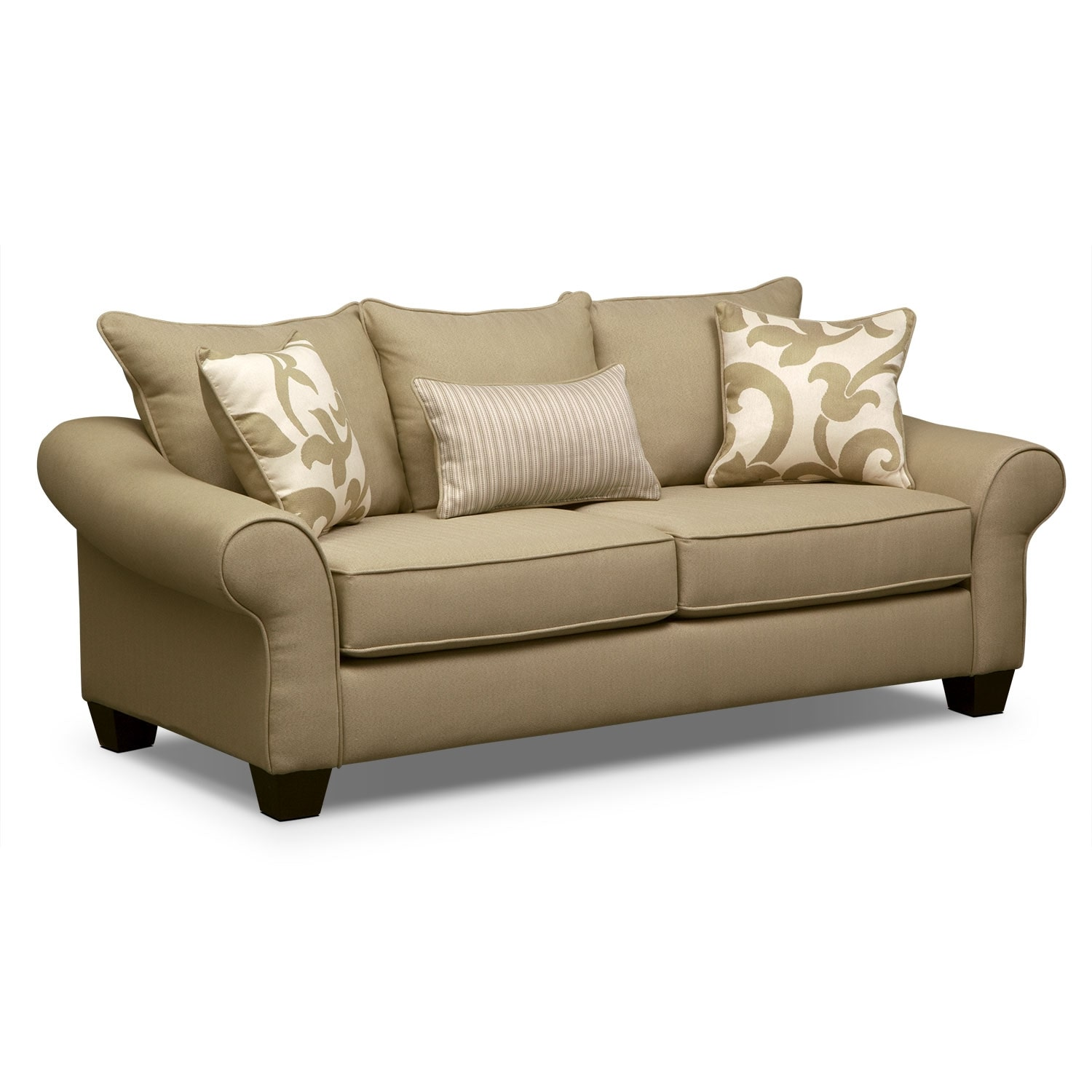 colette sofa khaki value city furniture. Black Bedroom Furniture Sets. Home Design Ideas