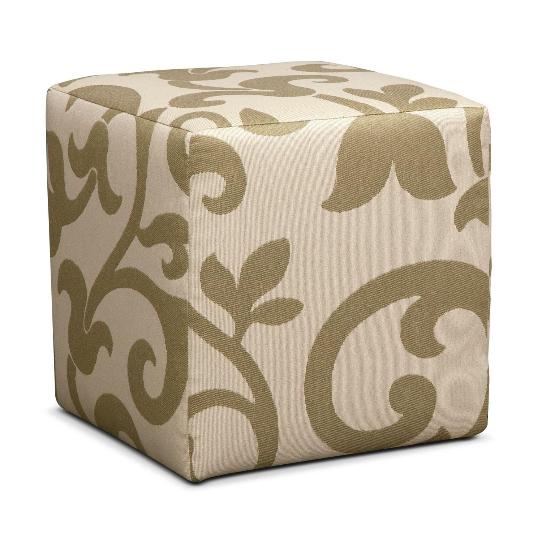 [Colette Khaki Cube Ottoman]