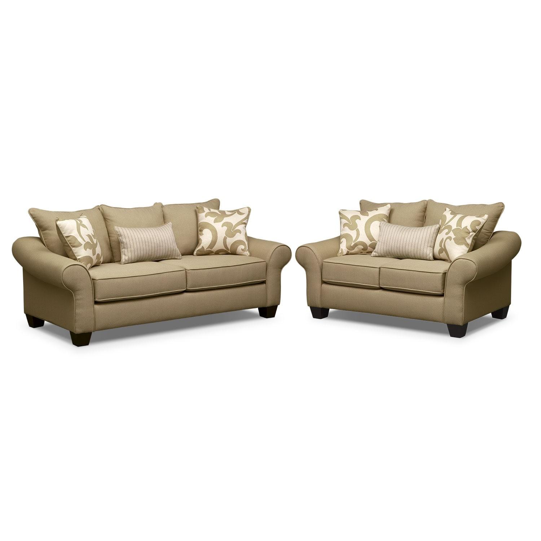Colette Full Memory Foam Sleeper Sofa And Loveseat Set Khaki American Signature Furniture