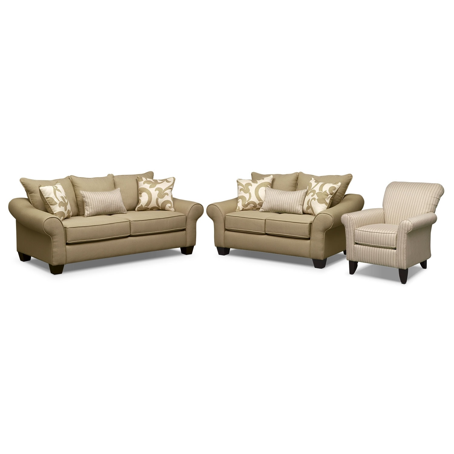 Colette Full Innerspring Sleeper Sofa Loveseat And Accent Chair Set Khaki Value City Furniture
