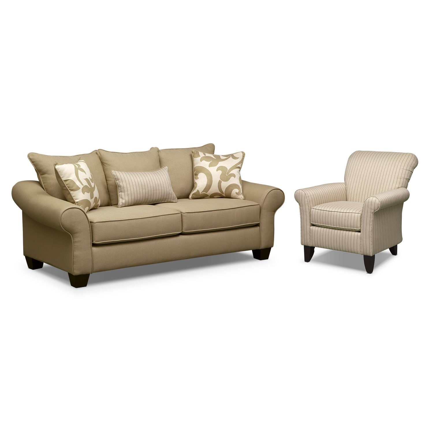 Colette Full Memory Foam Sleeper Sofa And Accent Chair Set
