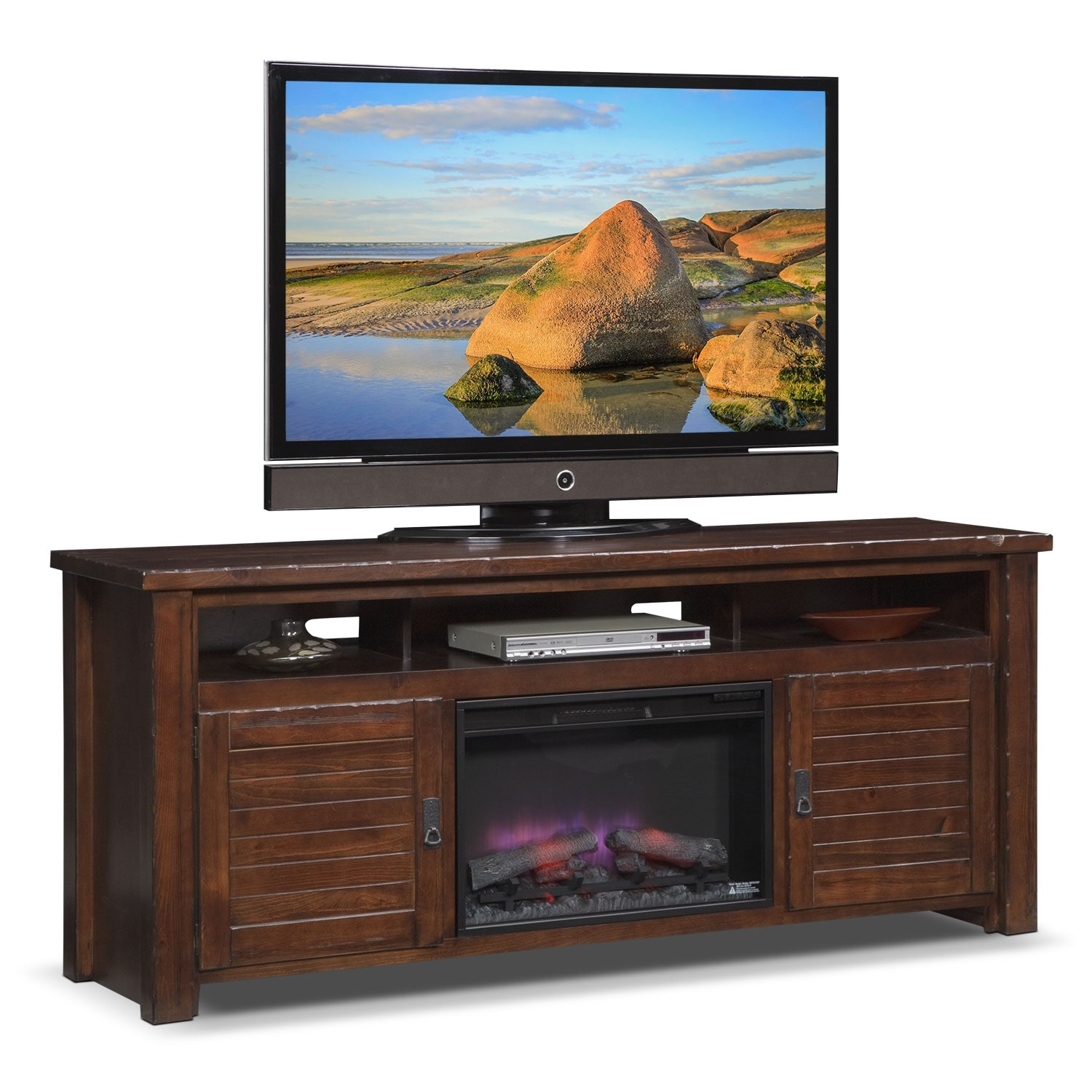 Prairie 74 fireplace tv stand with traditional insert for Living room stands