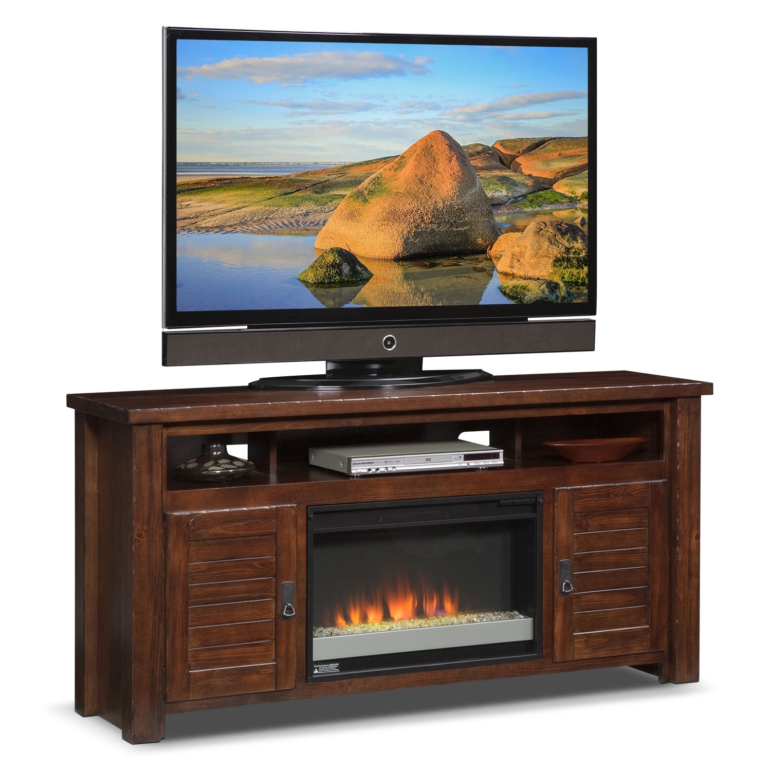 Prairie 64 Fireplace Tv Stand With Contemporary Insert Mesquite Pine Value City Furniture