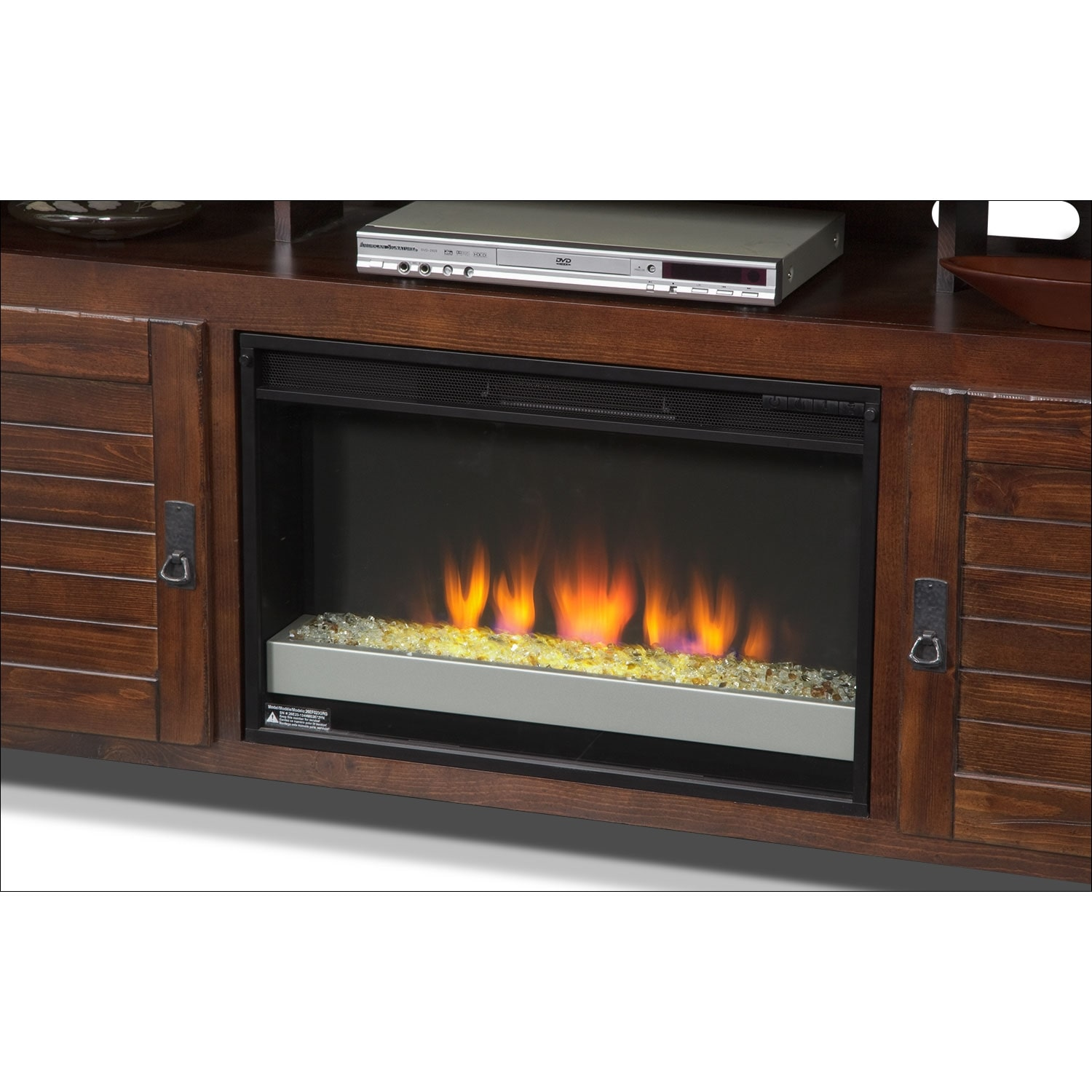harrington 64 fireplace tv stand with contemporary insert mesquite pine