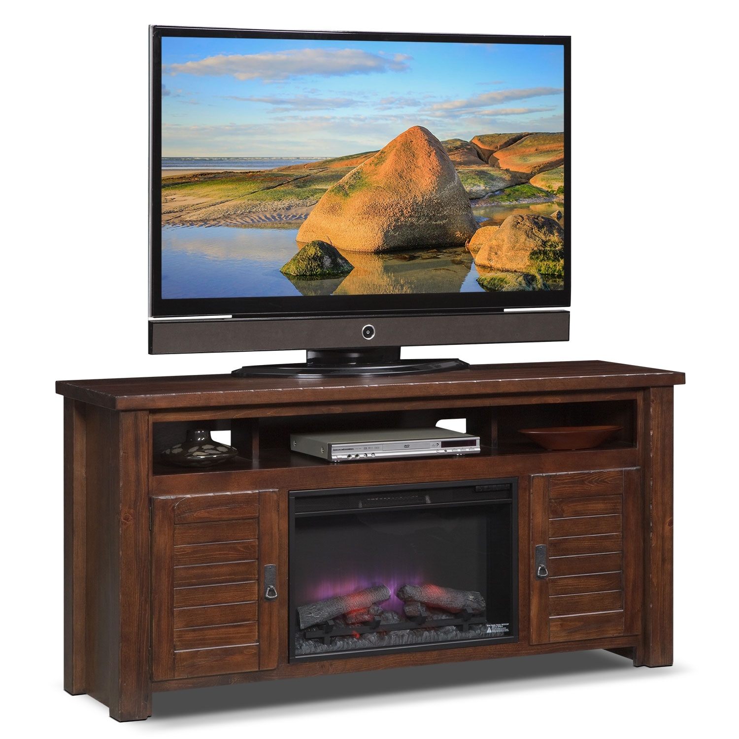 """[Prairie 64"""" Fireplace TV Stand with Traditional Insert - Mesquite Pine]"""