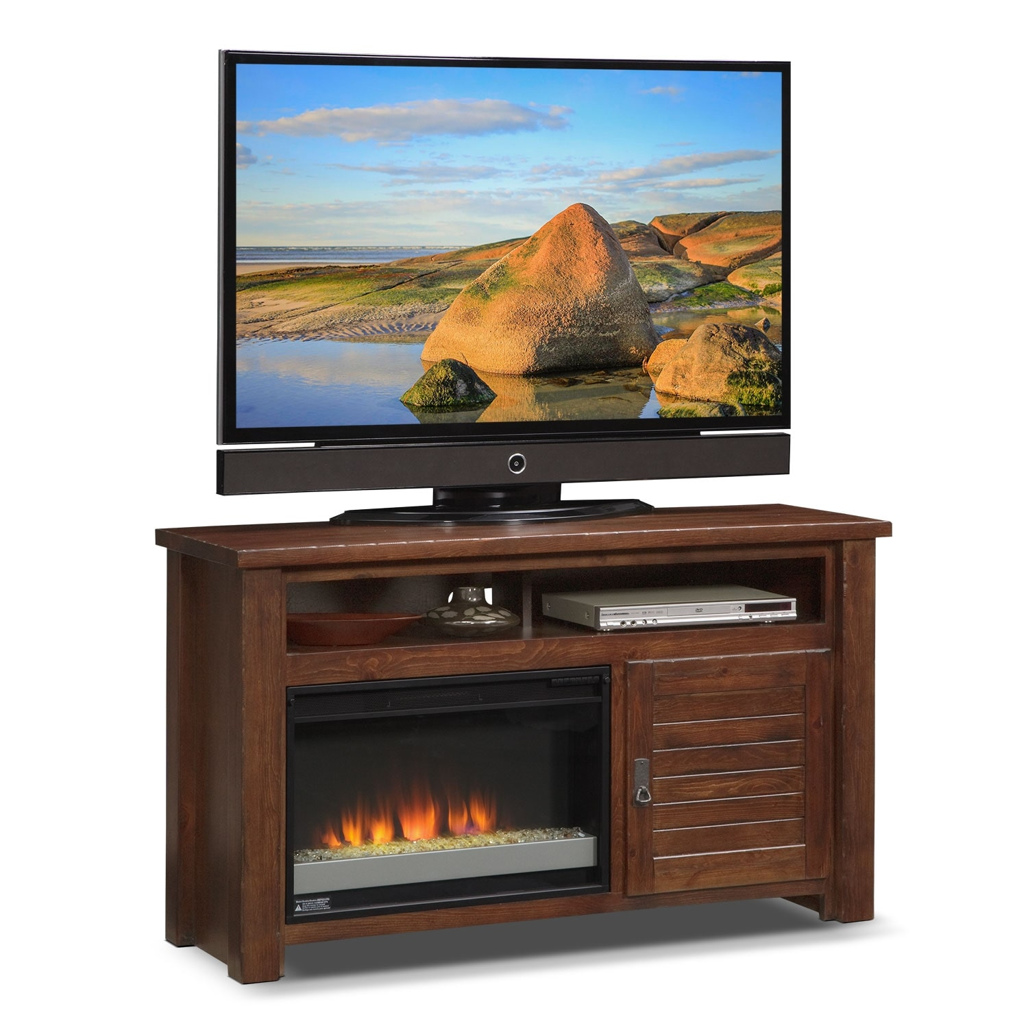 Prairie 54 Fireplace Tv Stand With Contemporary Insert Mesquite Pine Value City Furniture